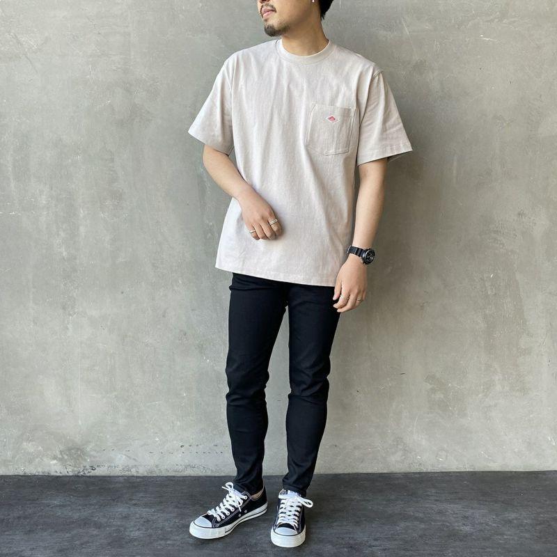 DANTON [ダントン] コットンポケットTシャツ [JD-9041] BLACK &&モデル身長 170cm 着用サイズ 44&&