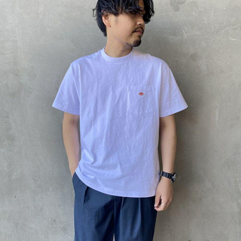 DANTON [ダントン] コットンポケットTシャツ [JD-9041] CHEATNUT&&モデル身長 170cm 着用サイズ 38&&