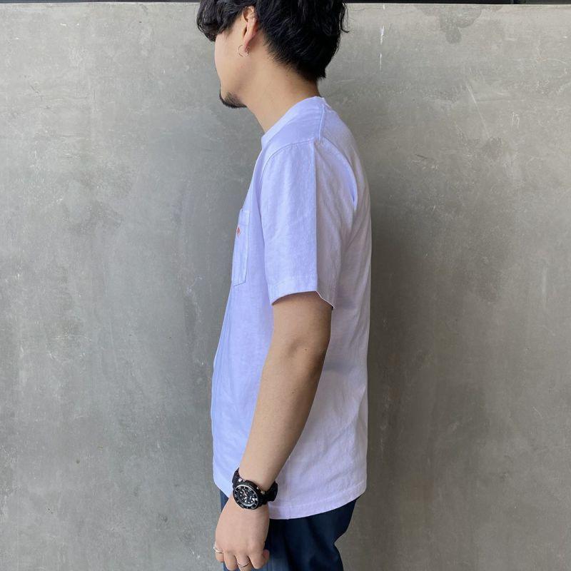 DANTON [ダントン] コットンポケットTシャツ [JD-9041] WHITE &&モデル身長 170cm 着用サイズ 42&&