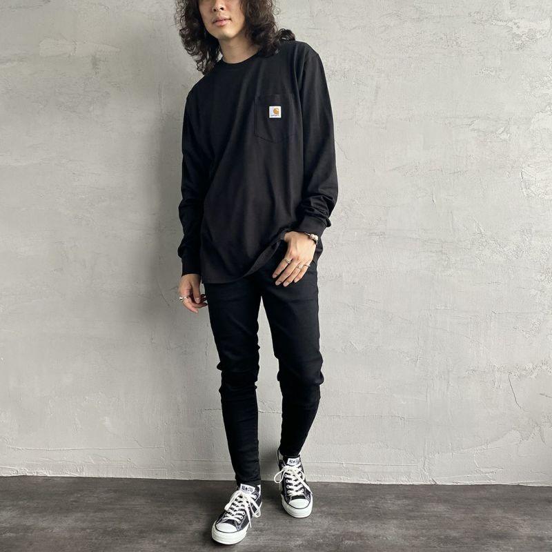 carhartt WIP [カーハートダブリューアイピー] ポケットTシャツ [I022094] 8900 BLACK &&モデル身長:170cm 着用サイズ:M&&