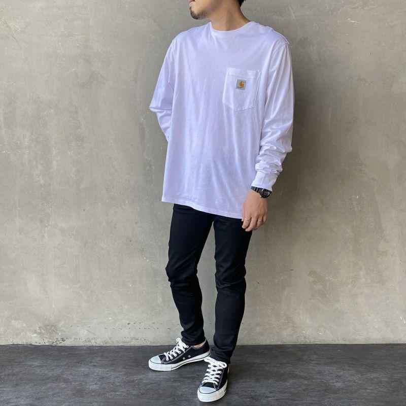 carhartt WIP [カーハートダブリューアイピー] ポケットTシャツ [I022094] 8900 BLACK &&モデル身長:170cm 着用サイズ:L&&