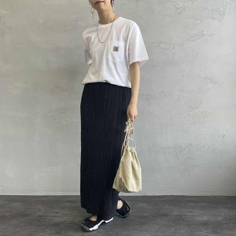carhartt WIP [カーハートダブリューアイピー] ポケットTシャツ [I022091] 0AM00 LIME &&モデル身長:156cm 着用サイズ:S&&
