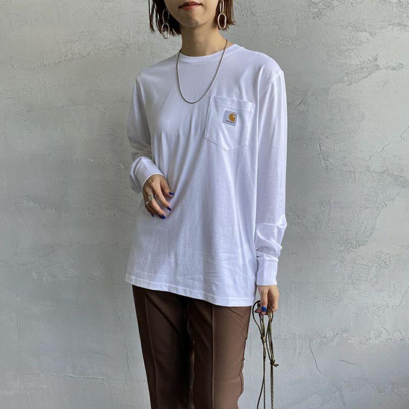 carhartt WIP [カーハートダブリューアイピー] ポケットTシャツ [I022094] 0200 WHITE&&モデル身長:163cm 着用サイズ:S&&
