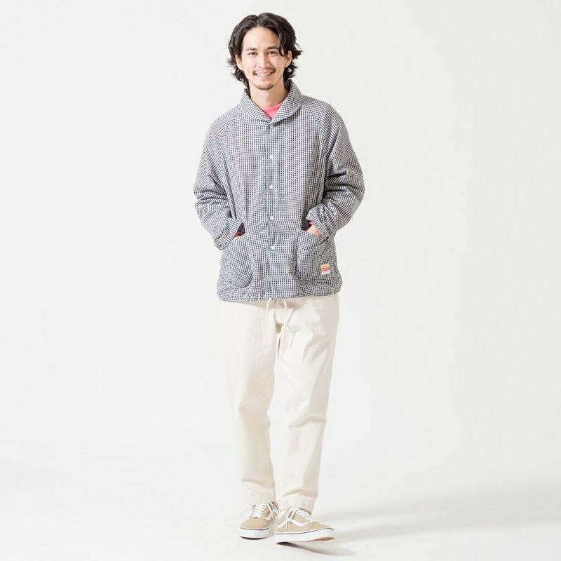 PAY DAY [ペイデイ] 別注 ショールカラーシャツジャケット [PD-21SS-IN-CA001] BLK GINGHA &&モデル身長:175cm 着用サイズ:L&&