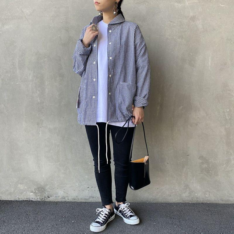 PAY DAY [ペイデイ] 別注 ショールカラーシャツジャケット [PD-21SS-IN-CA001] BLK GINGHA &&モデル身長:156cm 着用サイズ:L&&