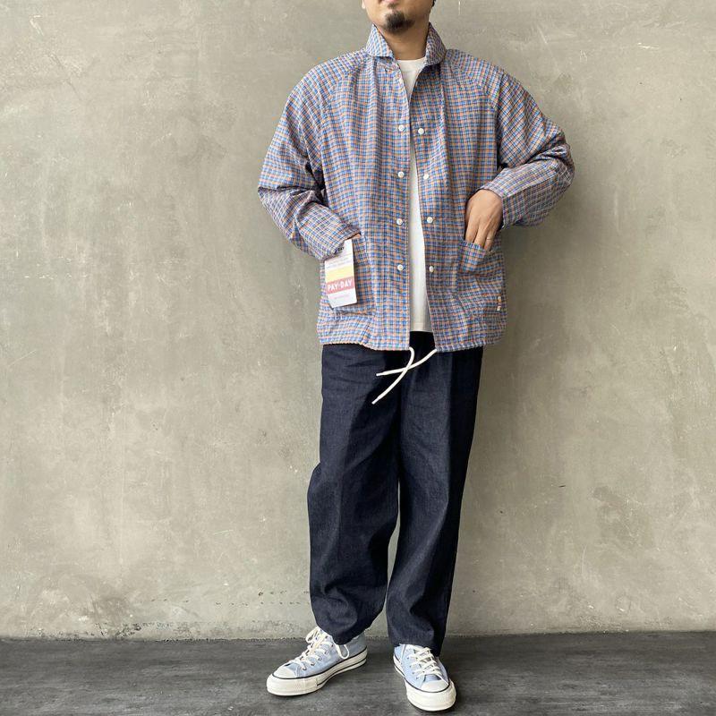 PAY DAY [ペイデイ] 別注 ショールカラーシャツジャケット [PD-21SS-IN-CA001] BLU CHECK &&モデル身長:170cm 着用サイズ:L&&