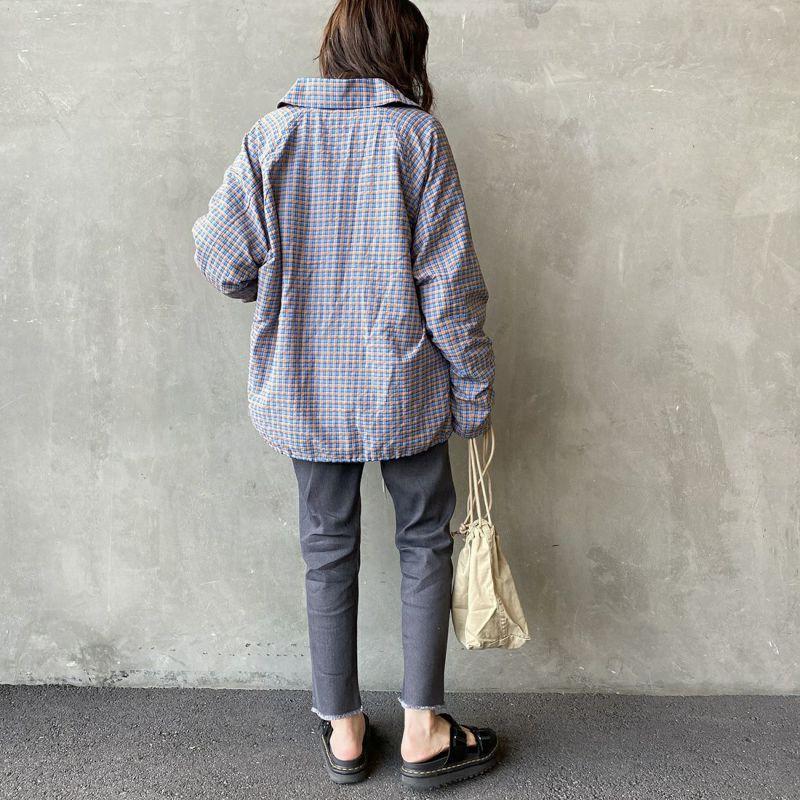 PAY DAY [ペイデイ] 別注 ショールカラーシャツジャケット [PD-21SS-IN-CA001] BLU CHECK &&モデル身長:160cm 着用サイズ:L&&