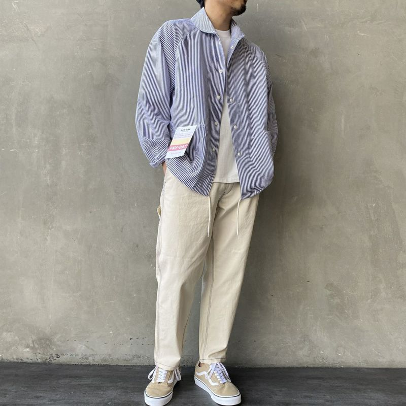 PAY DAY [ペイデイ] 別注 ショールカラーシャツジャケット [PD-21SS-IN-CA001] STRIPE &&モデル身長:170cm 着用サイズ:L&&