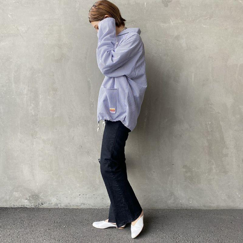 PAY DAY [ペイデイ] 別注 ショールカラーシャツジャケット [PD-21SS-IN-CA001] STRIPE &&モデル身長:163cm 着用サイズ:M&&
