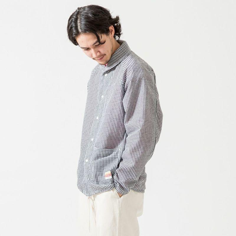 PAY DAY [ペイデイ] 別注 ショールカラーシャツジャケット [PD-21SS-IN-CA001] BLK GINGHA &&モデル身長:170cm 着用サイズ:L&&