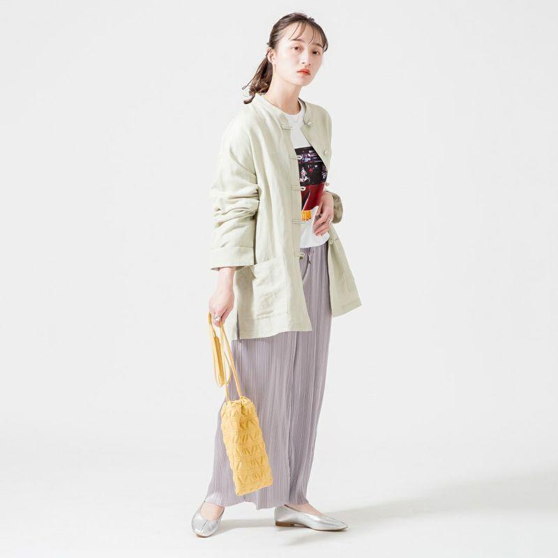Jf Ready Made [ジェイエフレディメイド] リネンチャイナシャツ [BRV-009] LT.KHAKI &&モデル身長:160cm 着用サイズ:F&&