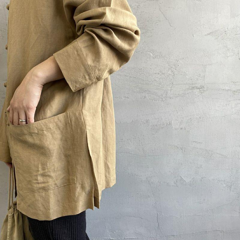 Jf Ready Made [ジェイエフレディメイド] リネンチャイナシャツ [BRV-009] BEIGE &&モデル身長:156cm 着用サイズ:F&&