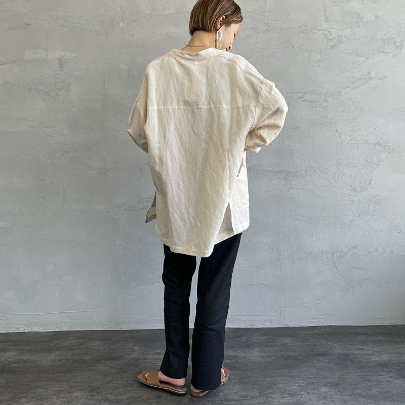 Jf Ready Made [ジェイエフレディメイド] リネンチャイナシャツ [BRV-009] IVORY &&モデル身長:156cm 着用サイズ:F&&