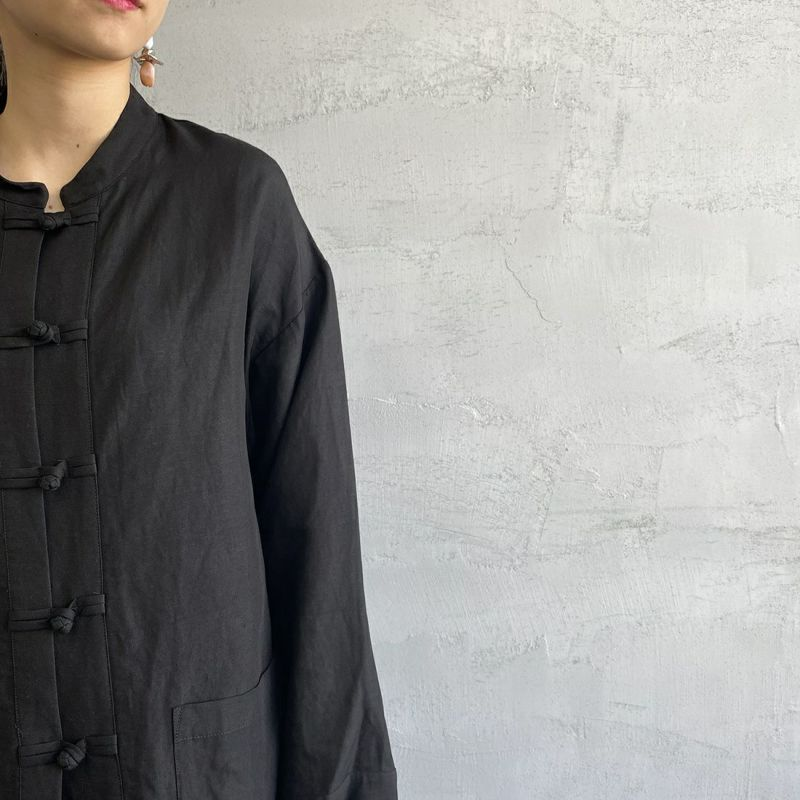Jf Ready Made [ジェイエフレディメイド] リネンチャイナシャツ [BRV-009] BLACK &&モデル身長:156cm 着用サイズ:F&&