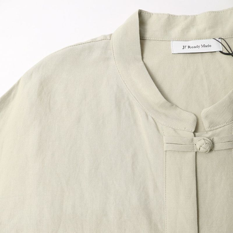 Jf Ready Made [ジェイエフレディメイド] リネンチャイナシャツ [BRV-009] LT.KHAKI &&モデル身長:156cm 着用サイズ:F&&