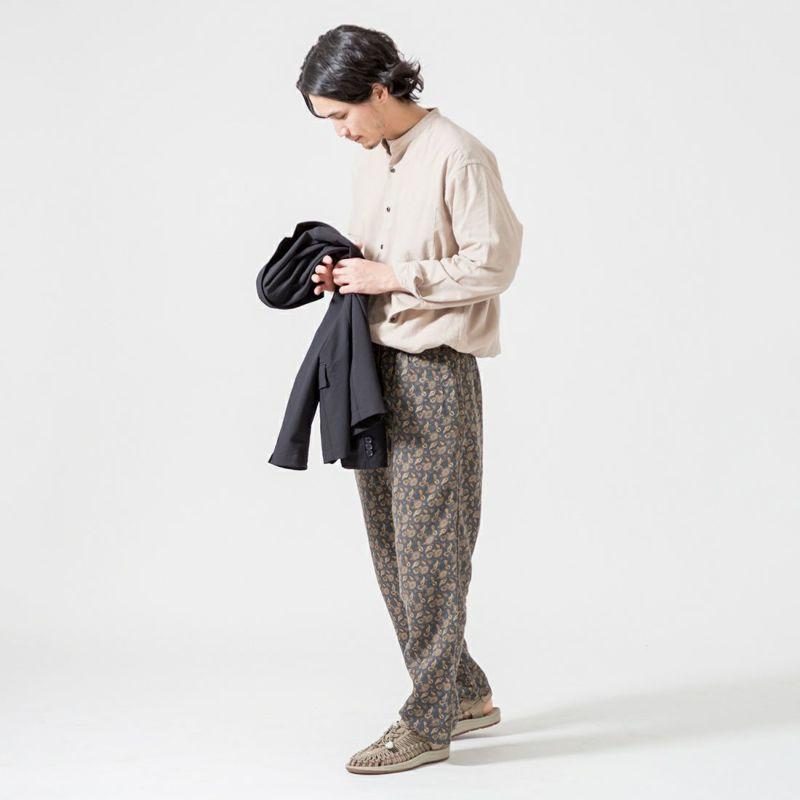 Jeans Factory Clothes [ジーンズファクトリークローズ] ビッグバンドカラーロングスリーブシャツ [EPC-01-11120] BEIGE &&モデル身長:175cm 着用サイズ:M&&