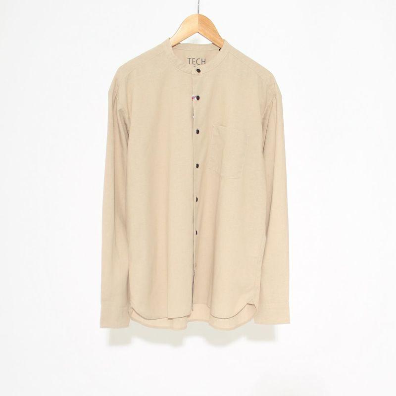 Jeans Factory Clothes [ジーンズファクトリークローズ] ビッグバンドカラーロングスリーブシャツ [EPC-01-11120] BEIGE