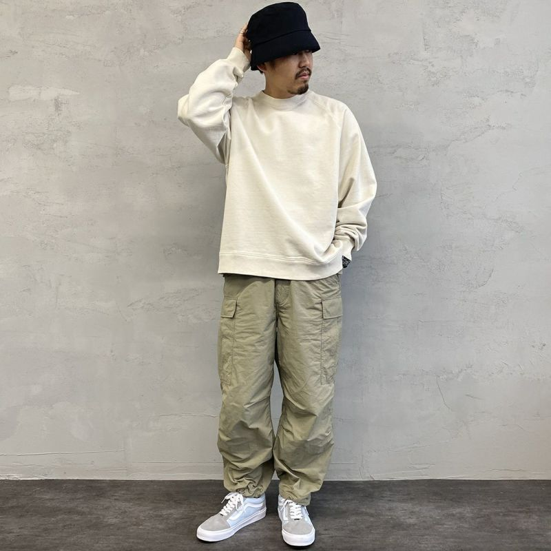 Jeans Factory Clothes [ジーンズファクトリークローズ] ヘビーウェイトスウェットクルー [2121-417IN] NATURAL &&モデル身長:170cm 着用サイズ:L&&