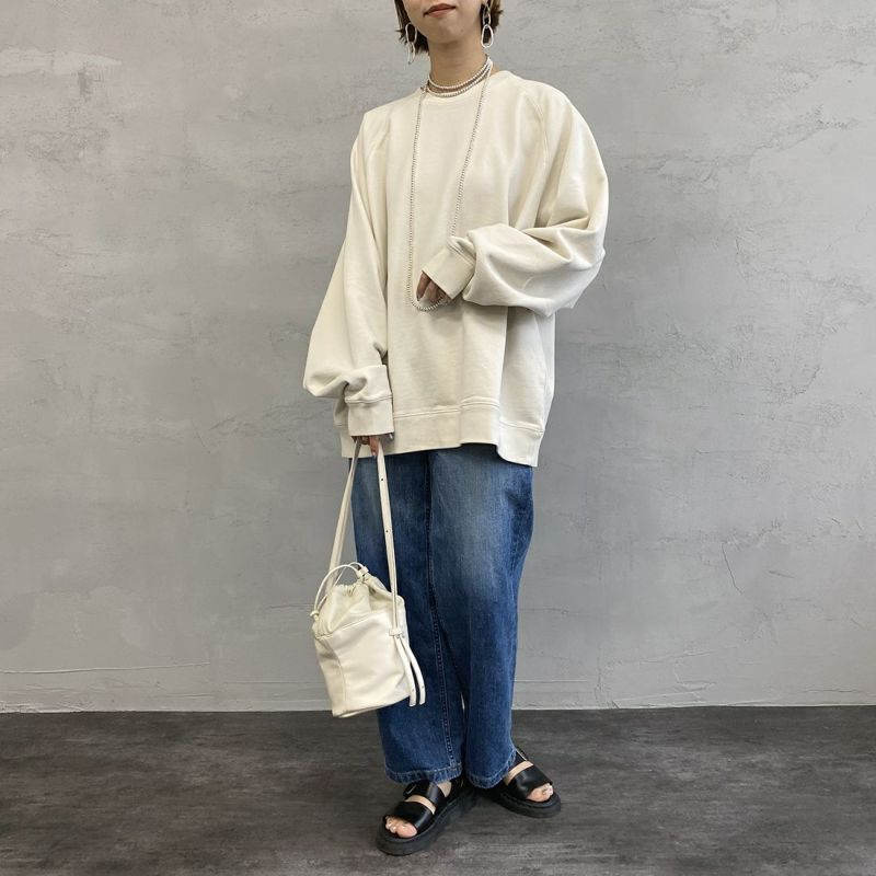 Jeans Factory Clothes [ジーンズファクトリークローズ] ヘビーウェイトスウェットクルー [2121-417IN] NATURAL &&モデル身長:163cm 着用サイズ:L&&