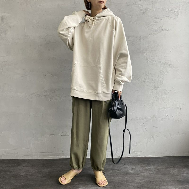 Jeans Factory Clothes [ジーンズファクトリークローズ] ヘビーウェイトスウェットパーカー [2121-418IN] NATURAL &&モデル身長:163cm 着用サイズ:L&&