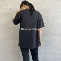 MANHATTAN PORTAGE [マンハッタンポーテージ] 別注 バックロゴプリントポケットTシャツ [21SSMP-IN02-JF] BLACK&&モデル身長:156cm 着用サイズ:S&&