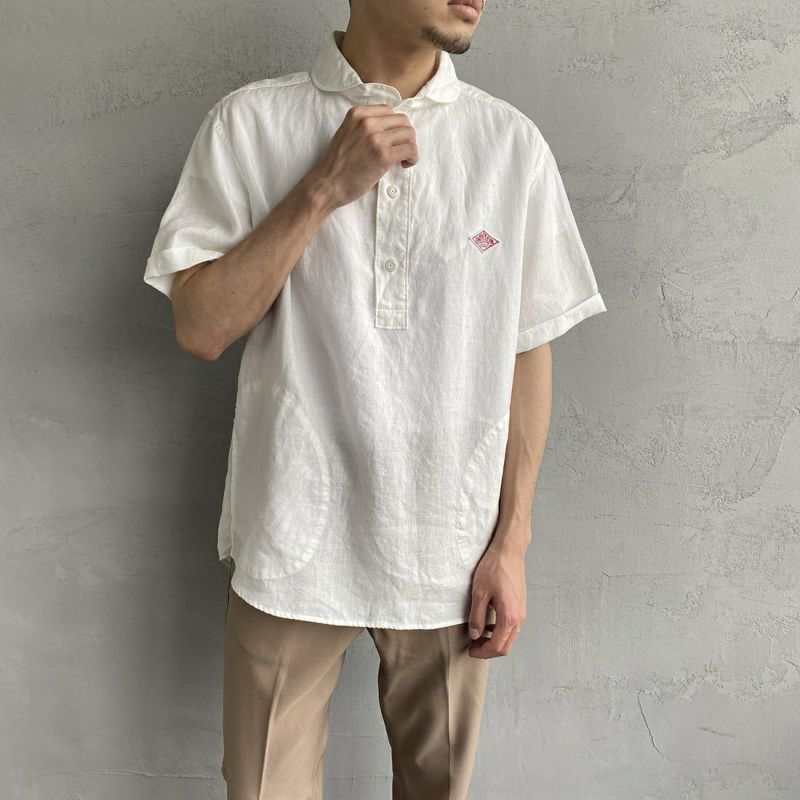 DANTON [ダントン] リネンクロスシャツ [JD-3569KLS] BEIGE&&モデル身長:170cm 着用サイズ:42&&