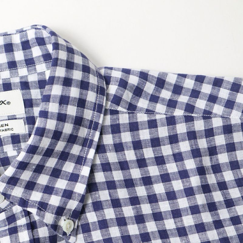 Gymphlex [ジムフレックス] リネンストライプシャツ [J-1421LNP] NAVY GNGM
