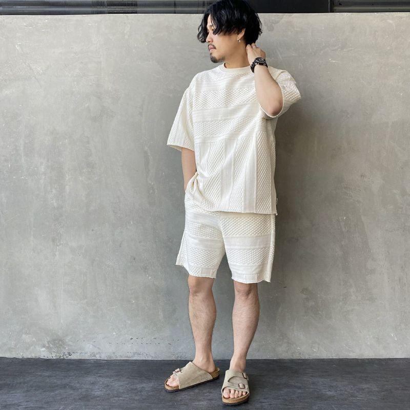 HELLO CALIF [ハローカリフ] ジャガードフリンジTシャツ [HC-212-027] KINARI &&モデル身長:170cm 着用サイズ:L&&