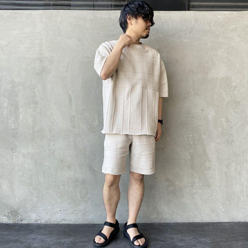 HELLO CALIF [ハローカリフ] ジャガードフリンジTシャツ [HC-212-027] GRYGE &&モデル身長:170cm 着用サイズ:L&&