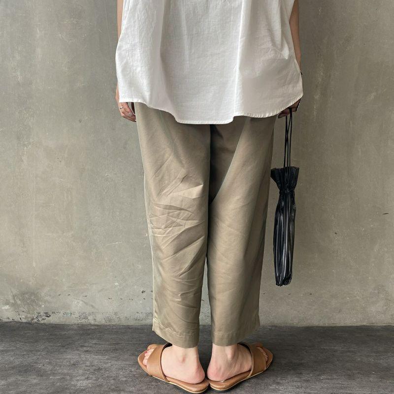 Commencement [コメンスメント] T/Cワイドパンツ [C-053] MOCHA&&モデル身長:156cm 着用サイズ:F&&