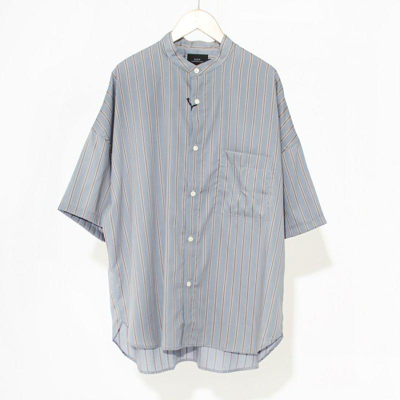 スリック ドビーストライプバンドカラーシャツ