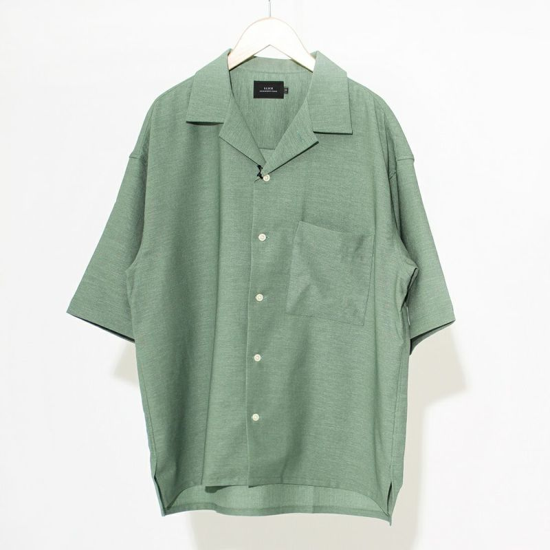 スリック フラッカーサオープンカラーシャツ