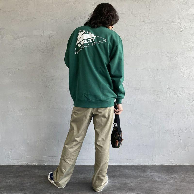 KELTY [ケルティ] 別注 バックロゴプリント クルーネックスウェット [KB-212-53003-JF] アイビーグリーン &&モデル身長:173cm 着用サイズ:L&&