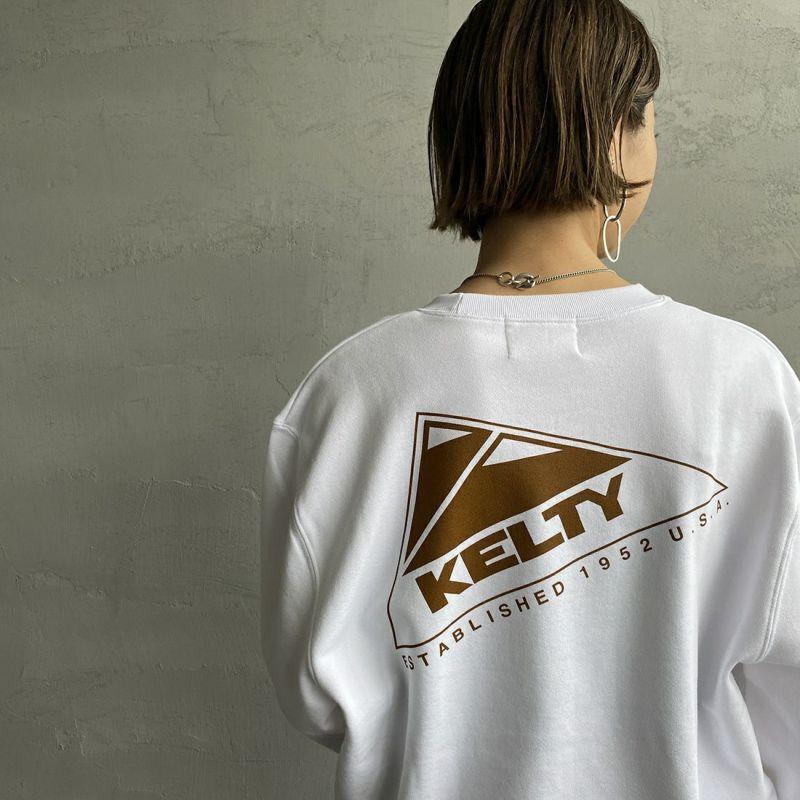 KELTY [ケルティ] 別注 バックロゴプリント クルーネックスウェット [KB-212-53003-JF] ホワイト &&モデル身長:163cm 着用サイズ:S&&