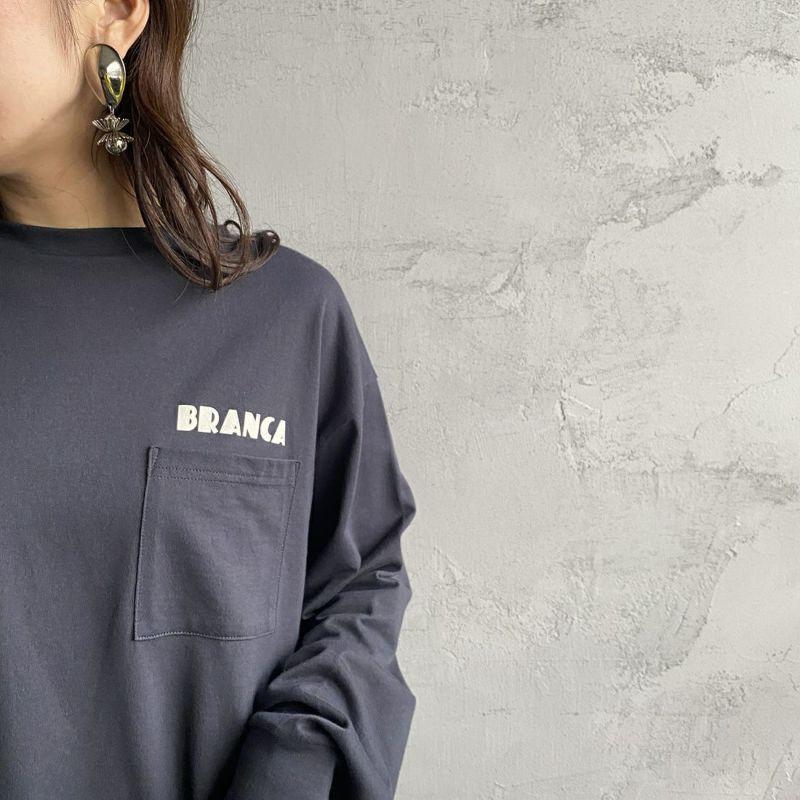+81 BRANCA [ハチイチブランカ] 別注 ボリューム袖ポケットロングスリーブTシャツ [21AW-CS37-JF] SUMIKURO&&モデル身長:160cm 着用サイズ:F&&
