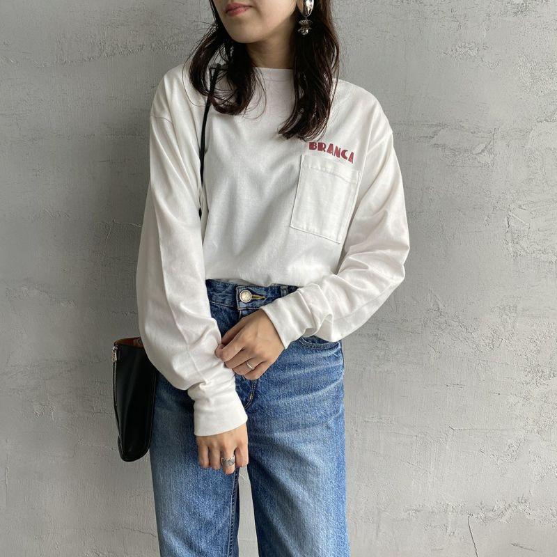 +81 BRANCA [ハチイチブランカ] 別注 ボリューム袖ポケットロングスリーブTシャツ [21AW-CS37-JF] WHITE&&モデル身長:160cm 着用サイズ:F&&