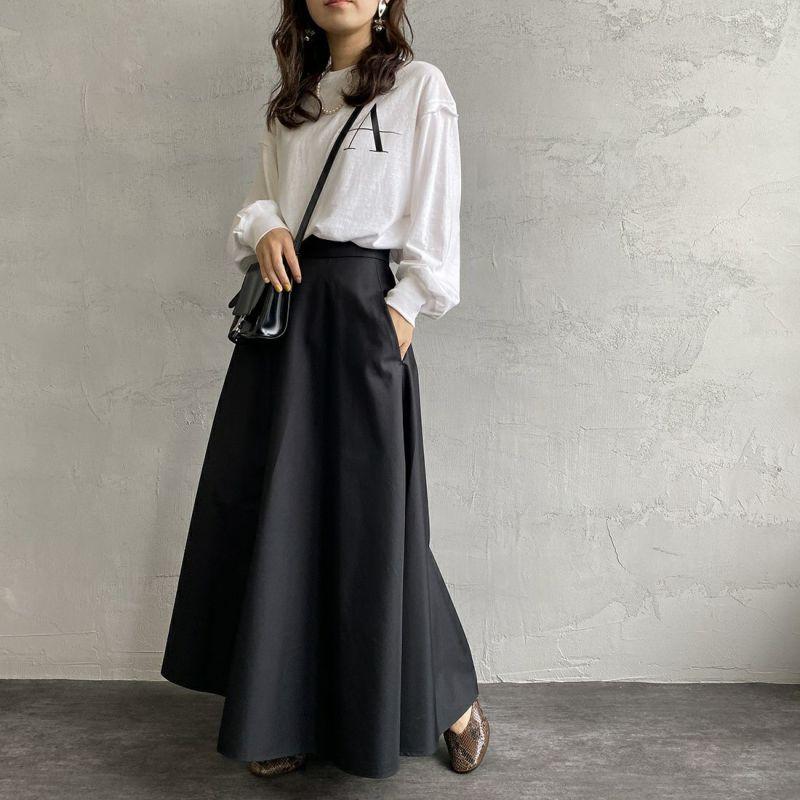 USINE [ユジーヌ] 玉虫調ギャバフレアスカート [GWBSS1045-01] ブラック&&モデル身長:160cm 着用サイズ:38&&