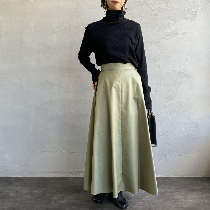 USINE [ユジーヌ] 玉虫調ギャバフレアスカート [GWBSS1045-01] オリーブ&&モデル身長:163cm 着用サイズ:36&&