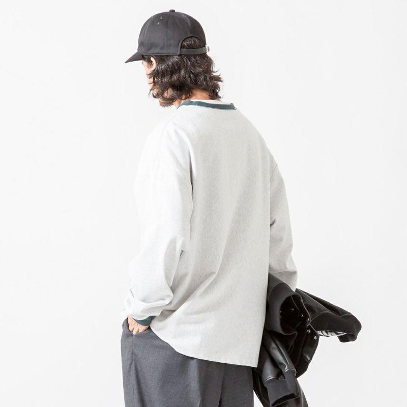 Jeans Factory Clothes [ジーンズファクトリークローズ] ヘビーウエイトTシャツ [2123-424IN] ASH/GRN &&モデル身長:175cm 着用サイズ:L&&
