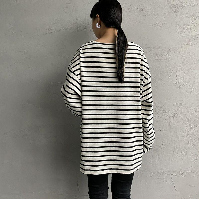 Jeans Factory Clothes [ジーンズファクトリークローズ] ヘビー米綿天竺ビックバスクシャツ [JFC-213-056] OFF/BLK&&モデル身長:156cm 着用サイズ:S&&