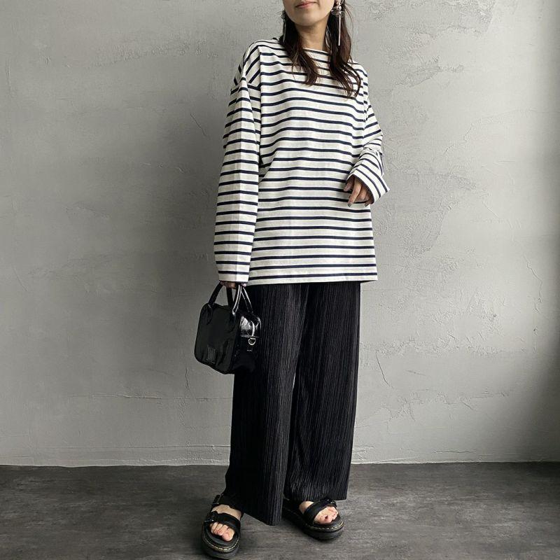 Jeans Factory Clothes [ジーンズファクトリークローズ] ヘビー米綿天竺ビックバスクシャツ [JFC-213-056] OFF/NVY&&モデル身長:160cm 着用サイズ:S&&