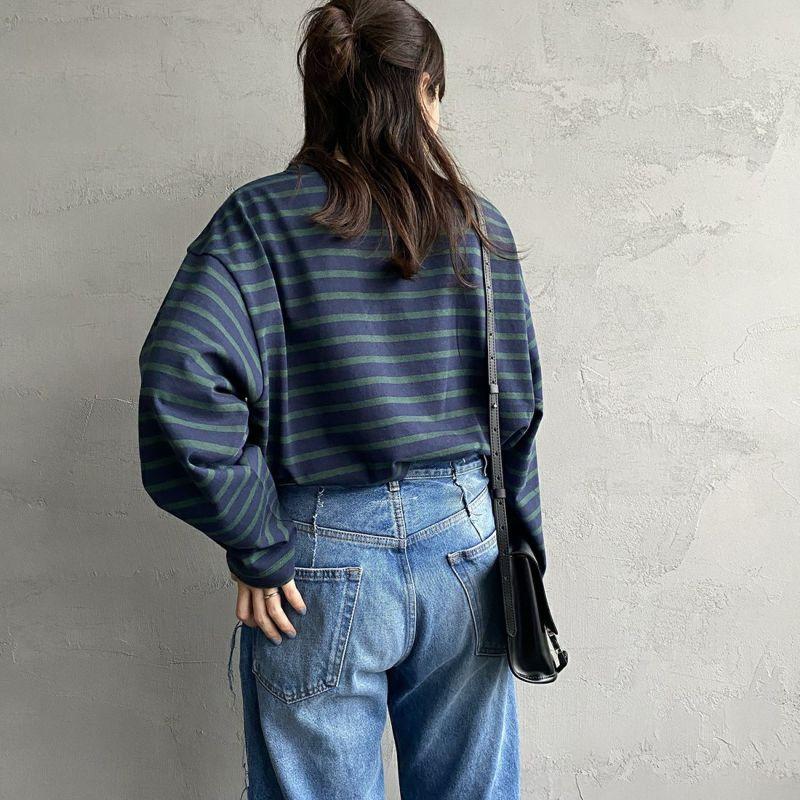 Jeans Factory Clothes [ジーンズファクトリークローズ] ヘビー米綿天竺ビックバスクシャツ [JFC-213-056] NVY/GRN&&モデル身長:160cm 着用サイズ:S&&
