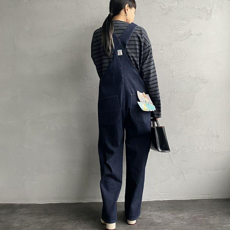 Jeans Factory Clothes [ジーンズファクトリークローズ] ヘビー米綿天竺ビックバスクシャツ [JFC-213-056] CHR/BLK&&モデル身長:156cm 着用サイズ:S&&