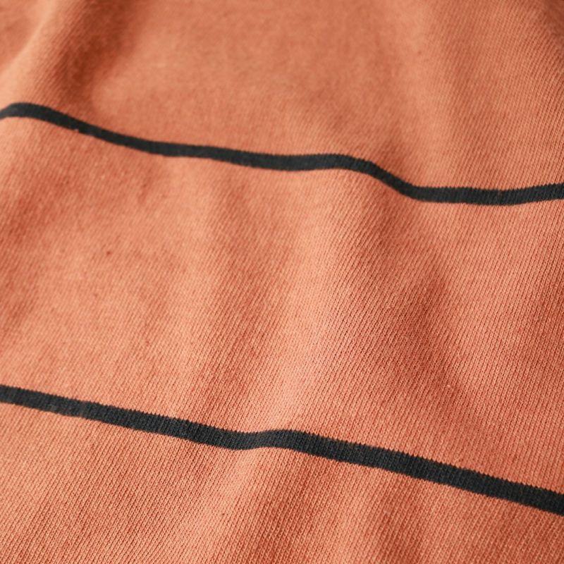 NOIR FABRIK [ヌワールファブリック] ピグメントボーダーロングスリーブTシャツ [613510] BROWN