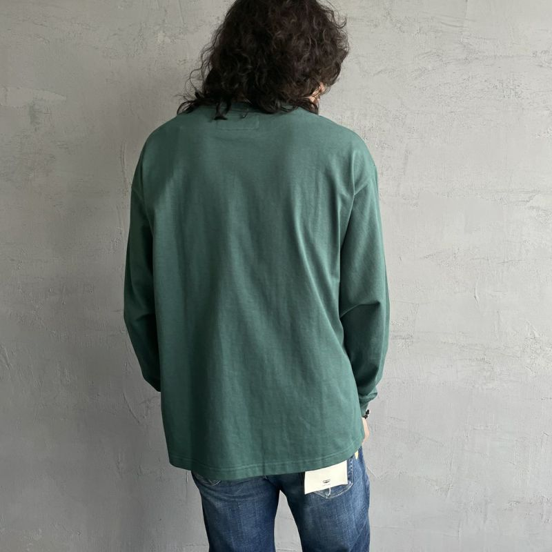 UNIVERSAL OVERALL [ユニバーサルオーバーオール] 別注 ポケット付きロングスリーブTシャツ [U213215IN-JF] GRAY&&モデル身長:173cm 着用サイズ:L&&