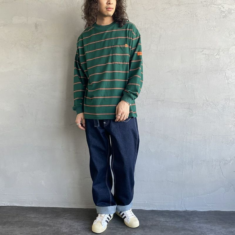 UNIVERSAL OVERALL [ユニバーサルオーバーオール] 別注 ポケット付きロングスリーブTシャツ [U213215IN-JF] ORANGE