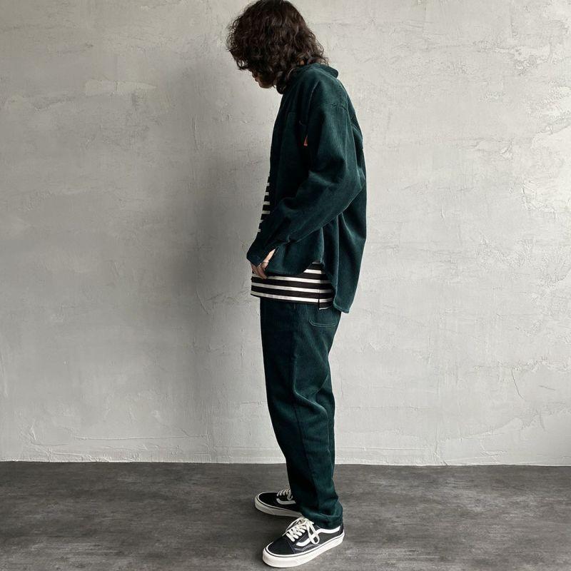 UNIVERSAL OVERALL [ユニバーサルオーバーオール] 別注 コーデュロイバンドカラーCPOシャツ [U2133140IN-JF] GREEN&&モデル身長:173cm 着用サイズ:M&&