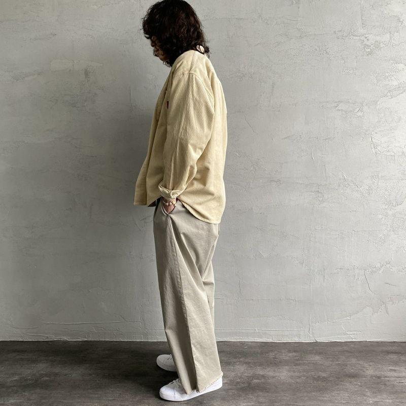UNIVERSAL OVERALL [ユニバーサルオーバーオール] 別注 コーデュロイバンドカラーCPOシャツ [U2133140IN-JF] IVOLY&&モデル身長:173cm 着用サイズ:L&&