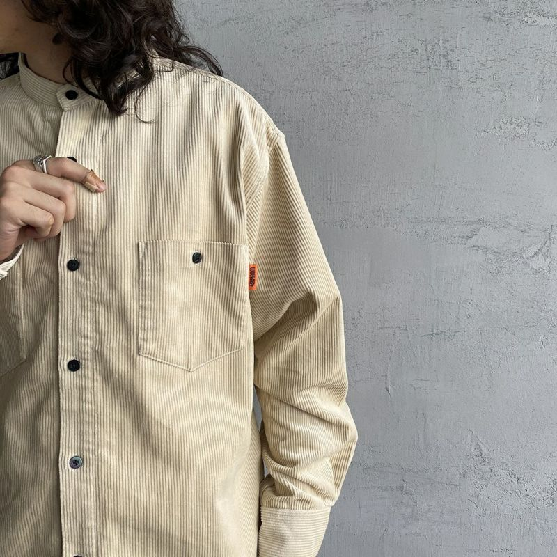 UNIVERSAL OVERALL [ユニバーサルオーバーオール] 別注 コーデュロイバンドカラーCPOシャツ [U2133140IN-JF] IVOLY