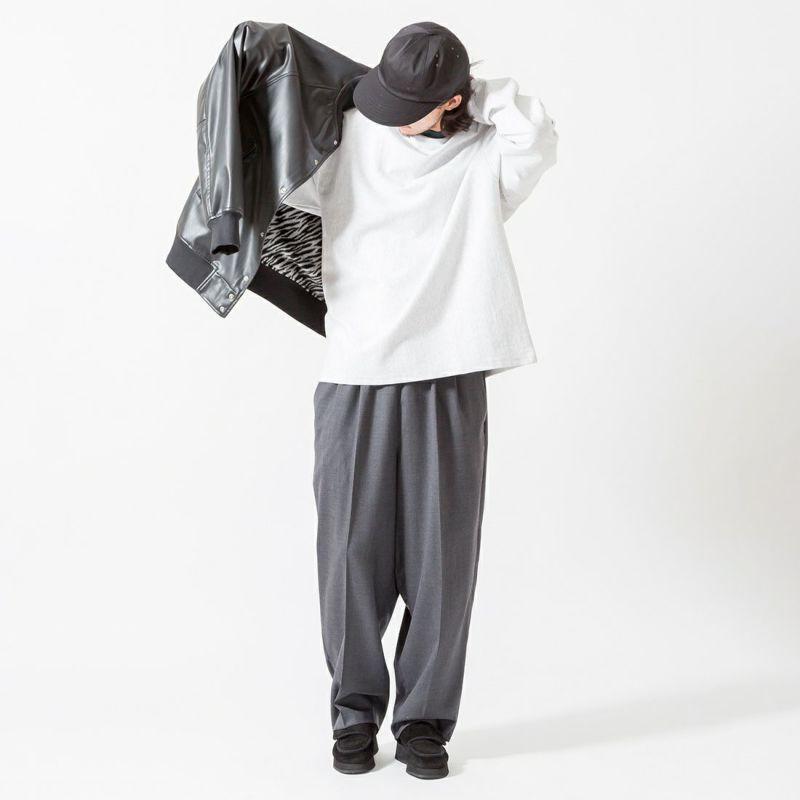 UNIVERSAL OVERALL [ユニバーサルオーバーオール] 別注 エコレザーボンバージャケット [U2131494IN-JF] BLACK &&モデル身長:175cm 着用サイズ:M&&